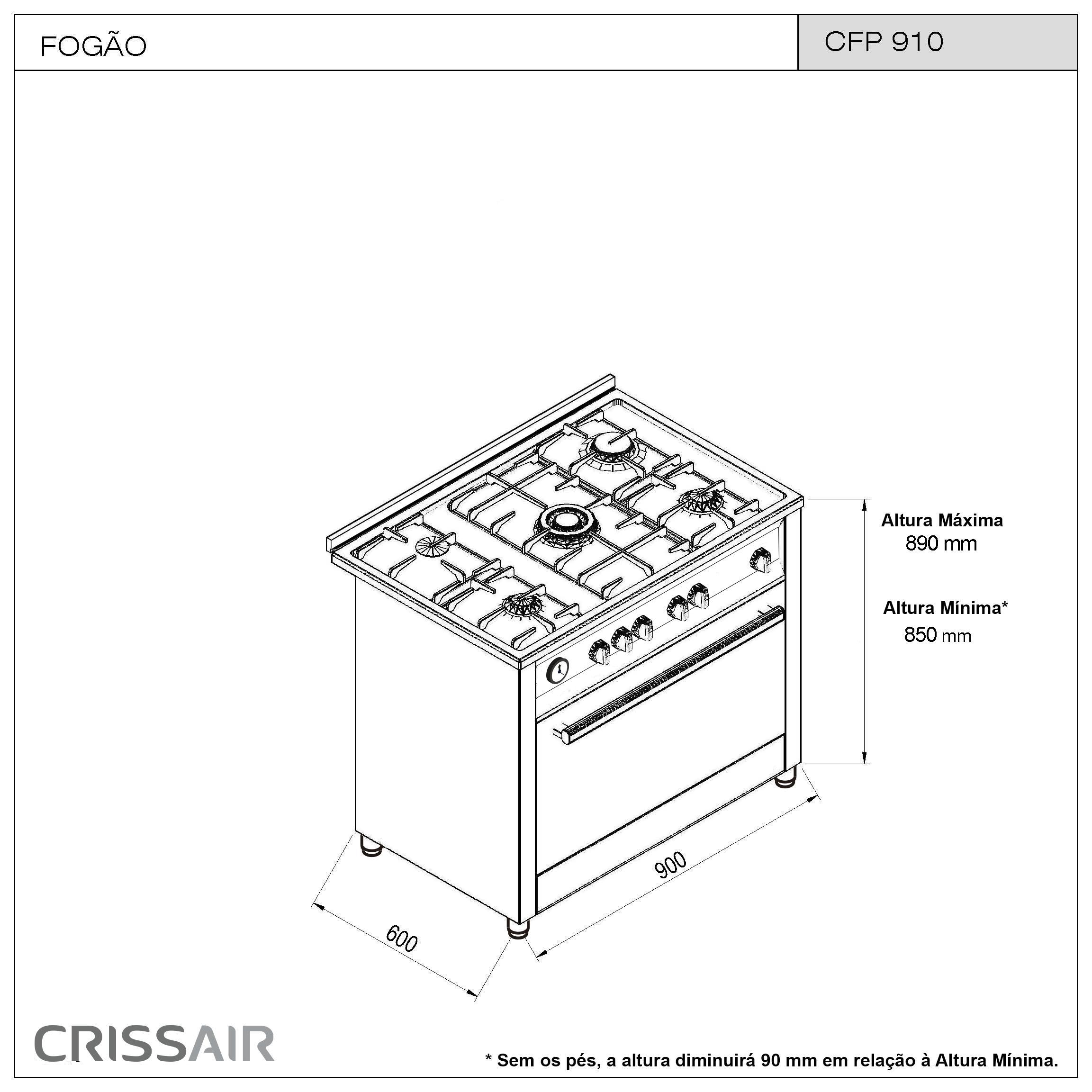 Fogão Free Standing CFP 910 Inox
