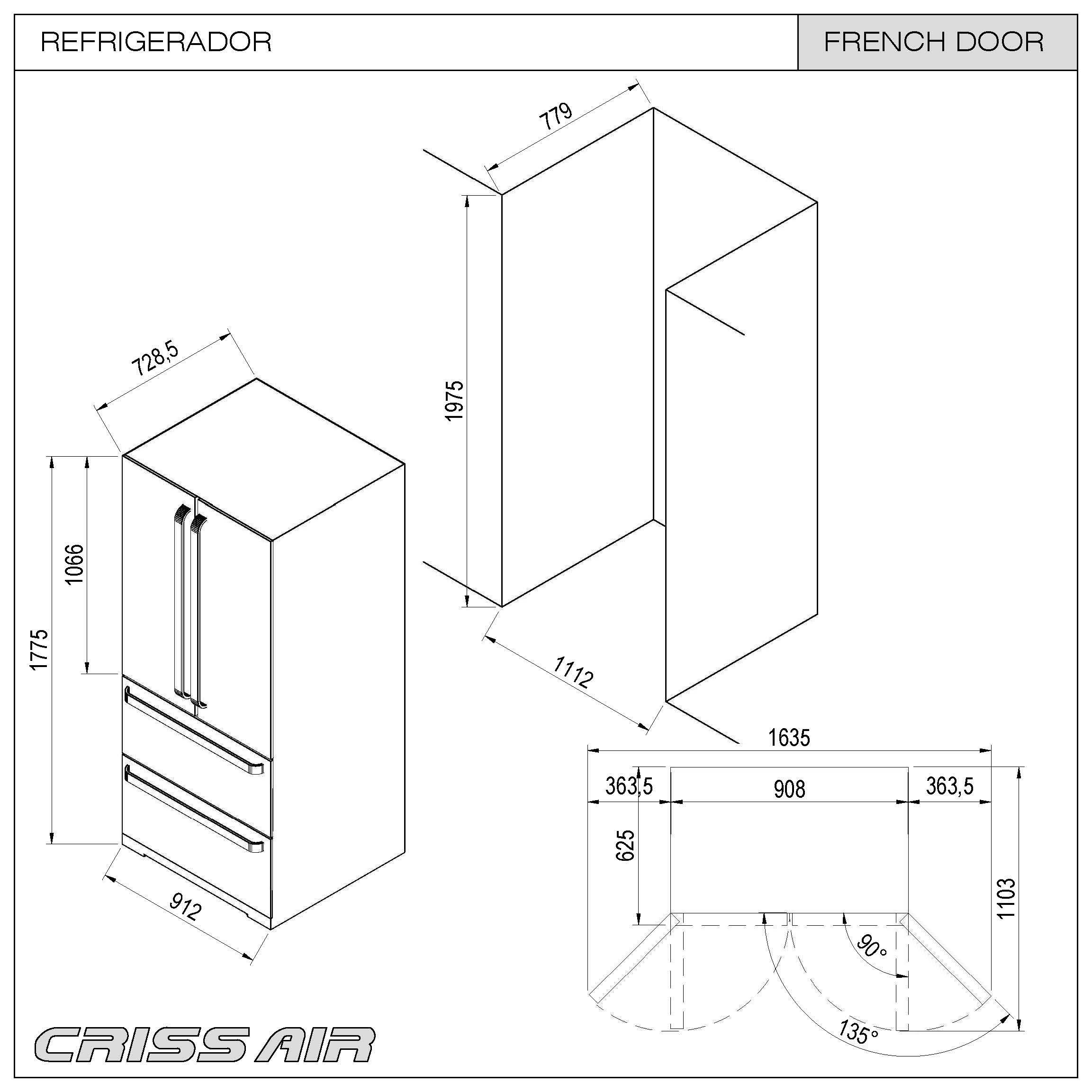 Refrigerador French Door 127V